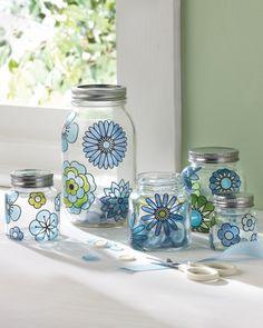 Modern Mason Jars DIY - Martha Stewart Crafts Glass Paint #DIY #crafts #MarthaStewart