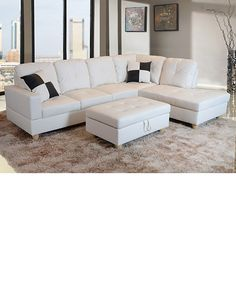 White leather sectional sofa with ottoman  sc 1 st  Pinterest : white leather sofa with chaise - Sectionals, Sofas & Couches
