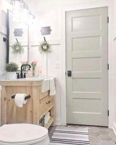 Bathroom decor for the master bathroom remodel. Learn bathroom organization, master bathroom decor some ideas, master bathroom tile ideas, master bathroom paint colors, and more. Bathroom Doors, Bathroom Renos, Master Bathroom, Bathroom Ideas, Lake House Bathroom, Bathroom Designs, Bathroom Renovations, Wooden Bathroom Vanity, Bathroom Makeovers