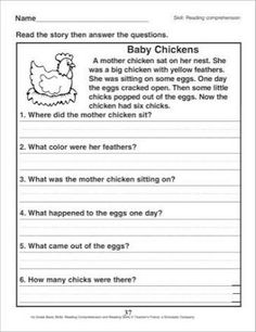 9 Best Images of First Grade Reading Comprehension Worksheets - Grade Reading Comprehension Worksheets, Grade Reading Fluency Passages and Printable Grade Reading Comprehension Worksheets First Grade Reading Comprehension, Reading Comprehension Worksheets, 2nd Grade Reading, Reading Fluency, Comprehension Questions, Reading Passages, Reading Activities, Reading Skills, Guided Reading