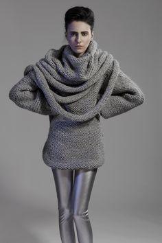Grey draped sweater, contemporary knitwear design // Minty A/W 2014