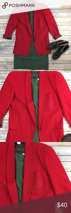 Vintage wool blazer EUC. Flat front pockets. Embroidered swirl design on front breast pocket. Fully lined. Has shoulder pads. 100% wool Harris. Wallace Jackets & Coats Blazers