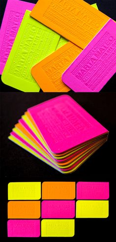 Bright Neon Letterpress And Die Cut Business Card