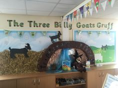 display for The Three Billy Goats Gruff in Year We substituted the Troll for a witch so the children could write their own variation of the traditional tale Teaching Displays, Class Displays, School Displays, Classroom Displays, Traditional Tales, Traditional Stories, Billy Goats Gruff Story, Fairy Tale Activities, Three Little Pigs