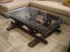 Vintage Industrial Decor This is just awesome. Reclaimed machinery turned into a coffee table! - Factory style at home! Enjoy this roundup with some amazing industrial home decor ideas :) Industrial Design Furniture, Industrial Table, Industrial House, Industrial Interiors, Cool Furniture, Furniture Design, Furniture Stores, Furniture Ideas, Furniture Vintage