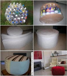 Ottoman out of Reuse Plastic Bottle. The ultimate crafting project!