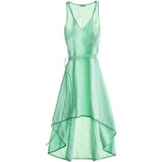 Calypso St. Barth Rosario Linen Cascade Dress (315 BRL) ❤ liked on Polyvore featuring dresses, vestidos, blue, green, green evening dress, cocktail dresses, green wrap dress, long evening dresses and long dresses