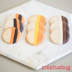 In the NEW Colorful Dipped Cookies and Pretzels class you will learn two different methods for dipping cookies and pretzels: an ombre effect and a striped effect.  You will also learn how to create a custom color palette with Candy Melts and how to dip the cookies to create clean lines of color. Start your free trial to take this class on @Creativebug today and get access to over 500 other craft classes.