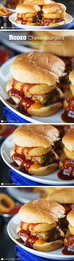 RODEO CHEESEBURGERS with crispy onion rings and sweet and spicy BBQ sauce. This is one of my husband's favorite burgers, ever since he was in high school and would order a Rodeo Cheeseburger from Burg (Husband Favorite Recipes) Grilling Recipes, Cooking Recipes, Beef Recipes, Burger Recipes, Onion Recipes, Family Recipes, Lunch Recipes, Dinner Recipes, Slider Sandwiches