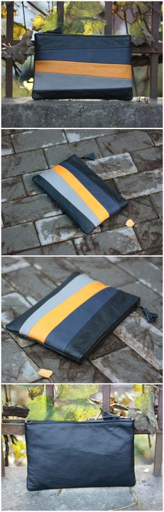 #clutch #clutchbag #fashion #style #stripes #clutchpurse #yellow #blue #grey #colorful