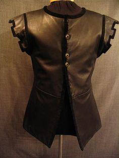09009852 Doublet Men's Renaissance, black leather, C40.JPG