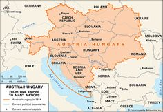 Before the outbreak of World War I, Austria-Hungary was a vast and powerful empire. After its defeat in the war, it was divided into a number of smaller countries. Hungary History, Map Quilt, Germany Poland, Zagreb Croatia, Austro Hungarian, Prague Czech, Bratislava, Historical Maps, Travel Information