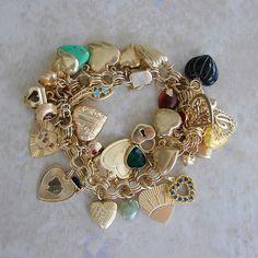 14K gold heart charm bracelet
