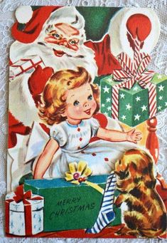 Vintage Christmas Card - Little Girl With Santa and Puppy - Used 1957 Stand Up Christmas Card Images, Vintage Christmas Images, Christmas Scenes, Christmas Past, Christmas Greeting Cards, Christmas Pictures, Christmas Greetings, Christmas Crafts, Christmas Ideas