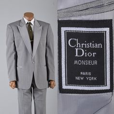 Vintage 1980s Christian Dior Mens Tuxedo. Silver tuxedo, vintage tuxedo. Mens style, mens fashion, vintage menswear, vintage mens style, vintage fashion