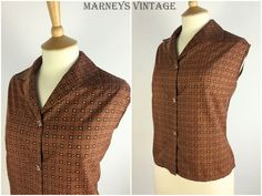 "Vintage 1950s Top - 50s Copper Geometric Blouse - Button Up Shirt - Sleeveless Top - Pinup Rockabilly - UK 16-18 Large Bust 42"" - by Marneys on Etsy"