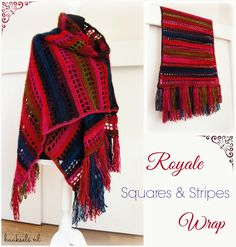 Haaksels: Royale Squares & Stripes wrap - free crochet shawl pattern by Marion. Crochet Scarves, Crochet Shawl, Crochet Clothes, Free Crochet, Crochet Wraps, Crochet Ideas, Crochet Projects, Crochet Stitches Patterns, Shawls And Wraps