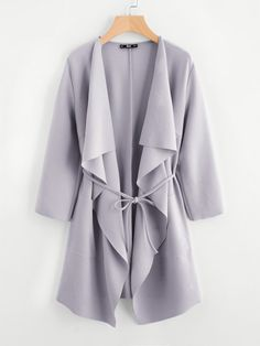 SheIn offers Waterfall Collar Pocket Front Wrap Coat   more to fit your  fashionable needs. 18b90c63e246