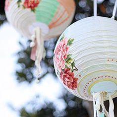 Dress up your white paper lantern with some florals using mod podge!