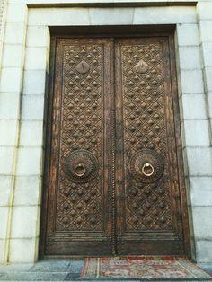 The door of the main entrance to Matenadaran, the museum-institute of the ancient Armenian manuscripts.  #Matenadaran #Door #ornaments #cooper #door
