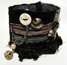 wrist cuff band - use old slap bands Denim Bracelet, Fabric Bracelets, Lace Bracelet, Handmade Bracelets, Cuff Bracelets, Handmade Jewelry, Textile Jewelry, Fabric Jewelry, Fabric Beads