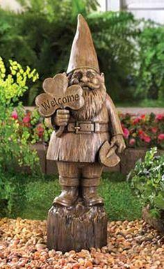 New Rustic Welcome Gnome Statue   eBay