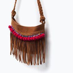 Image 4 of FRINGED LEATHER BAG from Zara