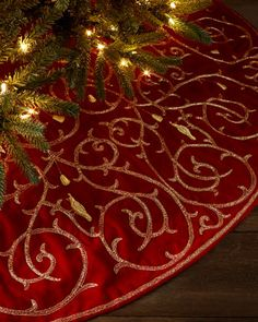 Partridge-in-a-Pear-Tree Christmas Tree Skirt at Bergdorf Goodman. by Sudha Pennathur