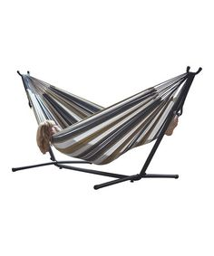 Loving this Tan & White Double-Cotton Hammock & Stand on #zulily! #zulilyfinds $119.99