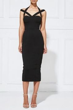 NEW-LEZARIN-Black-GISELLE-Criss-Cross-Dress-S-LEZ4116