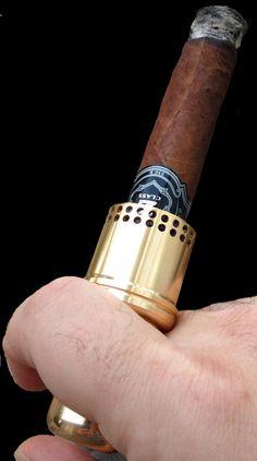 Cigar Cannon Premium Cigar Holder Gold Smoking Accessory Not a Lighter Gift