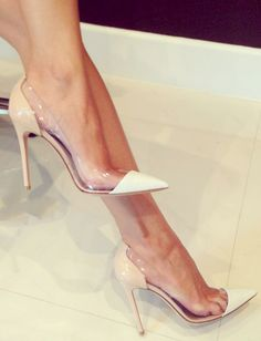 Nude Transparent Pumps // buy here here and here