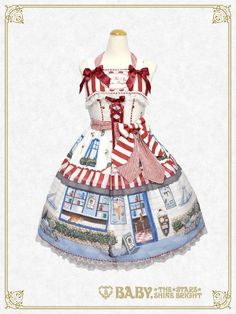 B41OJ215 Kitten's Sweet Cherries Cafe Diner Ribbon Jumperskirt