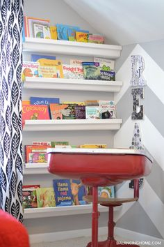 Fun reading nook with gutter bookshelves. Red, gray & black room.
