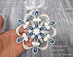 Dunkel blau Weihnachtsschmuck, Quilling dunkelblau Schneeflocke für Weihnachtsbaum, dunkel blau Christbaumschmuck, dunkelblauen handgemachte Stern
