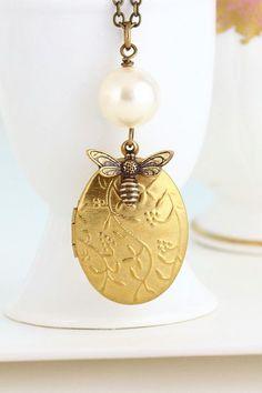 Necklace Locket Honey Bee Locket Necklace