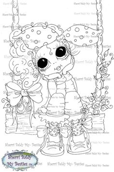 INSTANT DOWNLOAD Digi Stamps Big Eye Big Head Dolls Digi Bestie Img103 Swingin By Sherri Baldy