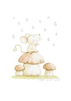 Nursery print LITTLE MOUSE on MUSHROOM Archival por AidaZamora