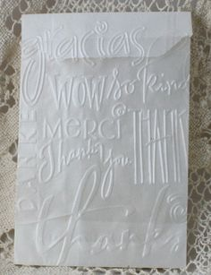 "25 Glassine Bags Embossed Thank You Favor Bags - 6 1/4"" x 3//34"". $5.95, via Etsy."
