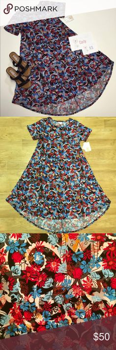 LuLaRoe Carly Dress NWT LuLaRoe Carly Dress NWT! Beautiful pattern! Colors are most like the close up image. I received this item and unfortunately it is not as loose as I wanted it to be. I am a nursing mama and wanted to have a bit more room at the top. 95% polyester, 5% spandex. Machine wash cold, gentle cycle. Hang dry (or you'll be sad). :) Only the dress is for sale! LuLaRoe Dresses High Low