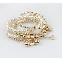Charm bracelets 5 stretch pearl bracelets and one dangle charm bracelet Jewelry Bracelets