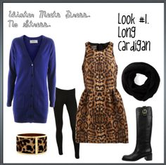 Fitted Leopard Bodice with slightly flared skirt and blue cardigan, black tights and black scarf with boots