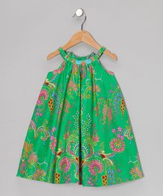 Take a look at this Green Floral Yoke Dress - Toddler & Girls by Dew Drops Couture on #zulily today!