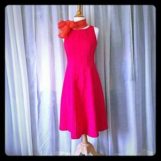 Ann Taylor Red Linen Dress Very pretty and feminine coral hued/red 100% linen summer dress. Size 6. Falls about mid length. A-line silhouette. Orange accessory not included. Ann Taylor Dresses Midi