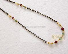 Gold Mangalsutra - 22 Karat Gold Black Beads Mangalasutra, Gold Long Chain Mangalsutra, 2 Lline Black Beads For Diamond Pendants