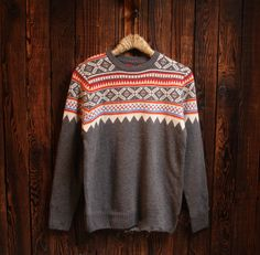 Mens Casual Round Collar Aztec Sweater Outwear
