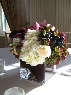 square vase centerpiece with grapes!
