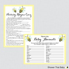 Printable Bumble Bee Baby Shower Games Package in Yellow  This printable baby shower games package is perfect if youre wanting to have a variety of activities at your baby shower. There are seven different games included. You can use them all or just a few - either way our package deal will save you money! Games Included: 1 - Baby Shower Bingo - The bingo squares have common baby shower gifts written in. As the gifts are opened guests check off the corresponding squares. There are 60 unique…