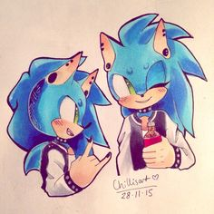 i got some copics this week so ive been learning how to use them!! & heres a punk sonic i did while practicing