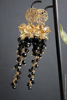 """серьги позолоченные """"Luxury"""" - золотой,черный,длинные серьги,позолоченные серьги"""